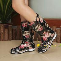 女士雨靴时尚雨鞋夏季高筒雨靴可加保暖绒平跟防滑水鞋水靴套鞋