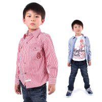 英格里奥春秋青少年中大童童装 男童装儿童纯棉长袖条纹衬衫1128B
