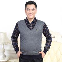 2016冬季加绒休闲 加厚衬衣领时尚休闲男士休闲韩版百搭针织衫