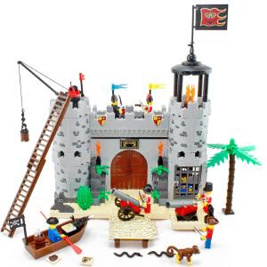 启蒙 海盗城堡劫兵营 乐高式拼装积木塑料拼插益智力玩具