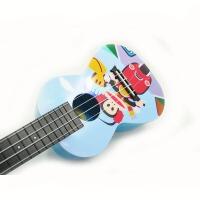 支持货到付款 Vorson 彩印 C型 23寸 尤克里里 ukulele 乌克丽丽 小四弦 夏威夷小吉他  蓝色 卡通  AUP-24-35