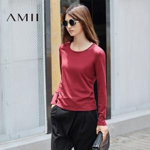 【AMII超级大牌日】[极简主义]2017年春装新品透视上衣红色长袖纯色大码棉T恤女