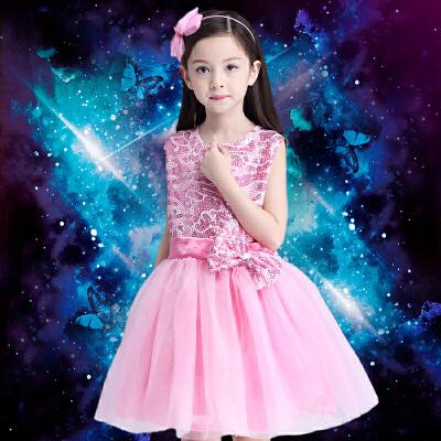 合唱表演服装男女童演出服主持人服爵士舞幼儿园表演服_女款无袖粉色