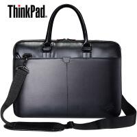 联想14寸笔记本单肩包T300,ThinkPad笔记本电脑包,原装15寸联想ThinkPad笔记本皮包(PU材质),背部可套于旅行箱拉杆上
