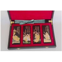 好吉森鹤/北京线上50元包邮//老胡开文徽墨 墨块 松烟墨 收藏品墨块墨锭 徽墨礼盒墨 4两乘4块木盒装套装/文房书画墨------1套4块+搭送品L8782