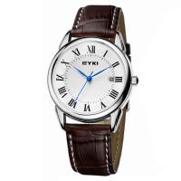 2017新款 EYKI艾奇 商务休闲皮带情侣对表 时尚罗马刻度 日历显示 简约表盘 潮流时装手表 8702