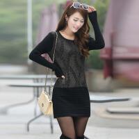 实拍2015 春季新款女装淑女内搭韩版蕾丝拼接针织衫毛衣裙