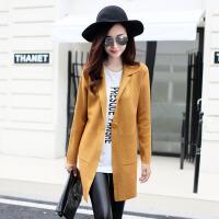 实拍2015新款韩版宽松长袖针织开衫大口袋中长款一粒扣翻领毛衣外套女