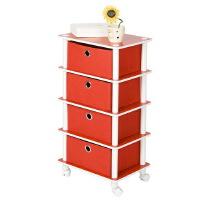 [当当自营]慧乐家 乐其四层带抽收纳架11212 红色+白色 简易收纳柜 斗柜