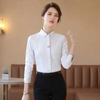 春款长袖女装衬衫女职业装正装大码工作服修身学生商务打底衫