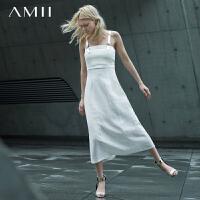 【AMII超级大牌日】[极简主义]2016新圣马丁设计院定制皮质吊带连衣裙女11682261