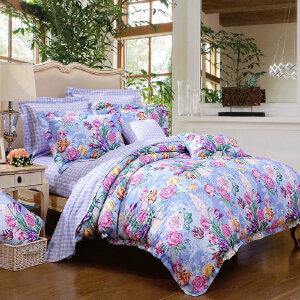 [当当自营]富安娜家纺纯棉四件套1.5米1.8米床印花套件 香韵清风 蓝色 1.5m