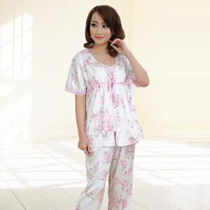 金丰田夏女士韩版仿真丝家居服 性感休闲短袖睡衣套装三件套1528