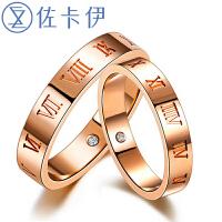 佐卡伊 时光里的爱玫瑰18K金钻石情侣对戒结婚钻戒女戒指简约首饰