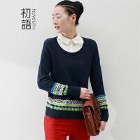初语秋季新款 女装针织衫女套头大码显瘦撞色百搭假两件毛衣女8430423050