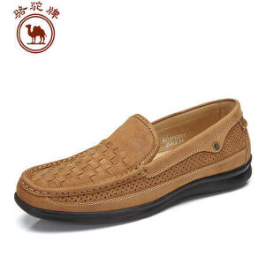 骆驼牌男鞋 头层牛皮透气鞋舒适休闲鞋套脚鞋