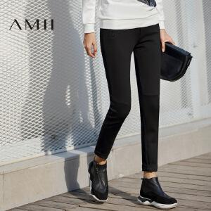 【AMII超级大牌日】[极简主义]2017年春新女通勤休闲弹力修身窄脚拉链显瘦铅笔长裤