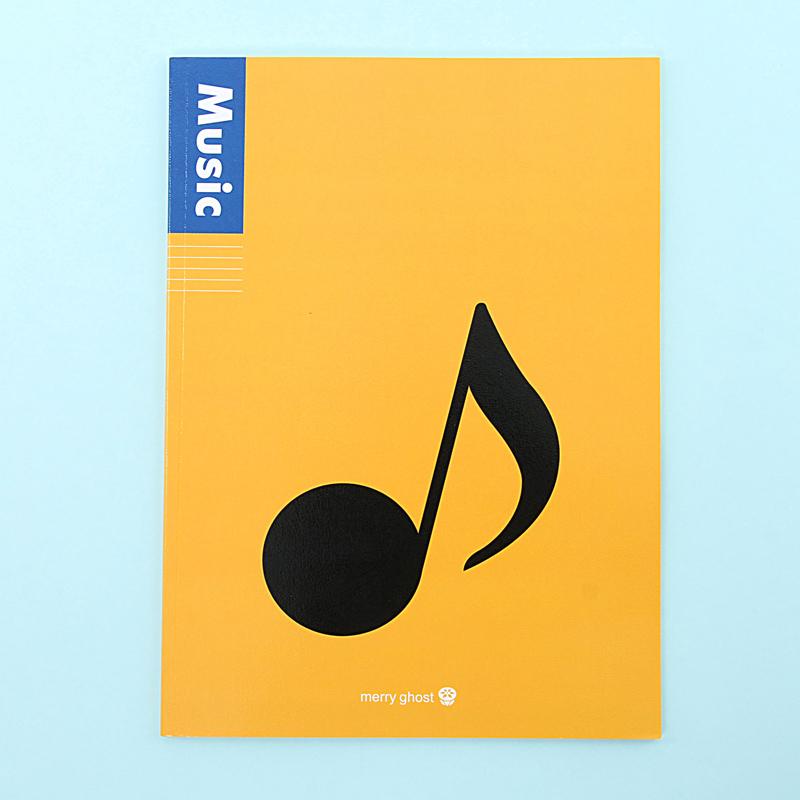 创意简约黑白音符软抄本五线谱记事本笔记本 课业本a4学习本子_黄色