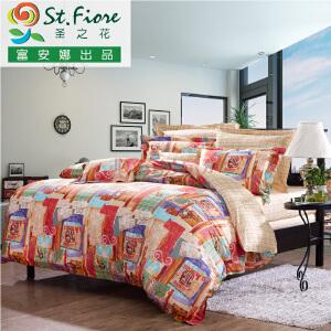 [当当自营]富安娜家纺纯棉四件套1.5米1.8米床印花套件 如沐诗雨 黄色 1.8m