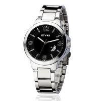 EYKI艾奇 韩版时尚情侣表 钢带日历表 手表 男表 黑色 8529