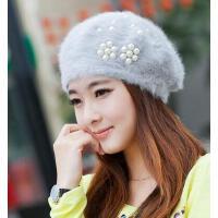 贝雷帽 秋冬季帽子 女 韩版韩国 潮可爱 毛线帽兔毛针织女士冬天