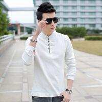 2015春夏新款T恤中国风男士纯亚麻t恤衫男装长袖纯色棉麻上衣立领