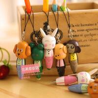 韩国创意文具 木质动物手机链 带挂件笔 圆珠笔  可爱卡通 学生用品礼品 学生活动奖品