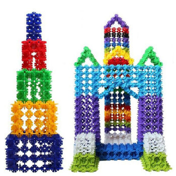 科博 加厚雪花片1000片塑料积木建构拼插 儿童益智玩具