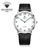 上海钻石牌手表男皮带石英表超薄休闲防水简约大表盘时尚男士手表