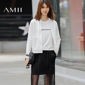 【AMII超级大牌日】[极简主义]2017年春新女时尚立领插袋开襟螺纹毛衣外套11671747
