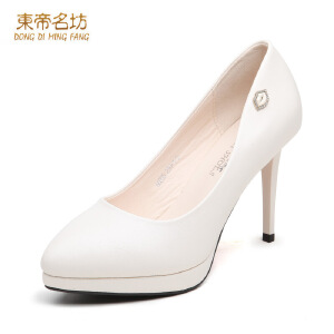 东帝名坊新款单鞋 时尚通勤OL浅口尖头鞋细跟高跟女鞋