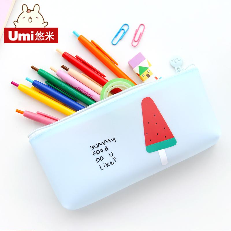 文具盒女生韩国简约创意可爱男学生大容量水果铅笔盒透明笔袋