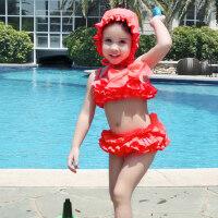 儿童泳衣可爱女童带泳帽分体裙式度假泳装