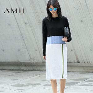 【AMII超级大牌日】[极简主义]2017年春新款宽松撞色毛针织大码长袖连衣裙11682989