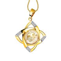 梦克拉 18K金镶钻石吊坠 时来运转 十二生肖吊坠 项链吊坠 创意礼品 中国风