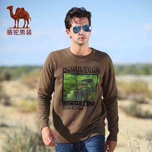 骆驼男装 新款毛衣 男士宽松圆领毛衣 男款长袖休闲毛衣