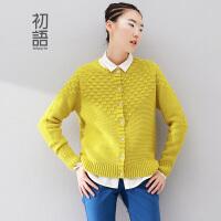 初语冬季新款 圆领羊毛衫宽松开衫毛衣外套上衣女8440413143