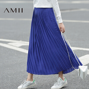 【AMII超级大牌日】[极简主义]2017年春知性优雅字母印花风琴百褶长半身裙11671735
