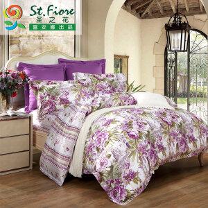 [当当自营]富安娜家纺纯棉四件套1.5米1.8米床印花套件 印象曼谷 紫色 1.5m