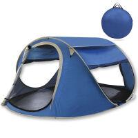 捷�N 户外全自动帐篷 双人 3-4人 野外露营防雨双层帐篷套装折叠旅游装 蓝色