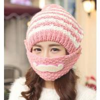 帽子女冬天韩版潮胡子毛线帽 儿童护耳可爱 骑车保暖口罩帽加绒毛线