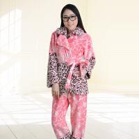 金丰田女士秋冬珊瑚绒加厚家居服套装 豹纹性感高贵有腰带睡衣1843