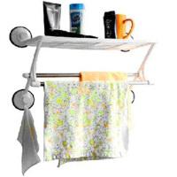 双庆 卫生间置物架强力吸盘单层双杆不锈钢杆浴厨架卫浴架