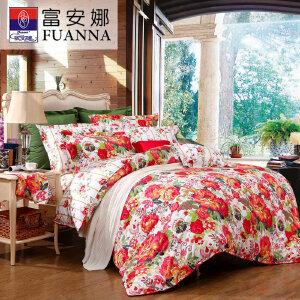 [当当自营]富安娜家纺纯棉四件套1.5米1.8米床印花套件 艳冠群芳 红色 1.5m