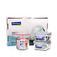 GLASS LOCK 三光云彩 韩国进口玻璃乐扣保鲜盒 玻璃饭盒GL22-A三件套LCGL0096