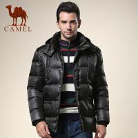 CAMEL 骆驼男装 新款男士基础大众羽绒服 黑色休闲外套
