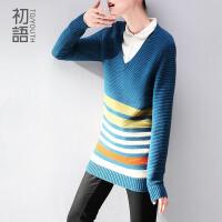 11月11日新品   初语 V领撞色条纹打底显瘦针织衫毛衣345103086