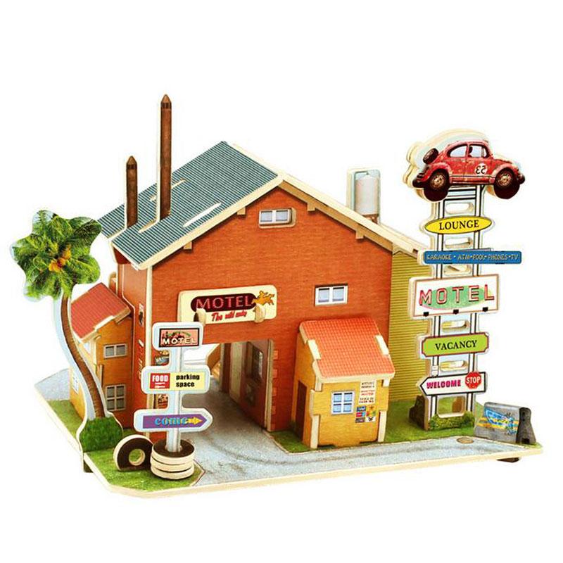 若态3d立体拼图建筑模型 木制房子彩色小屋 diy木质 英国风情系类