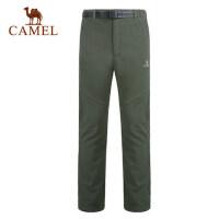 camel骆驼户外抓绒裤 男女情侣款 户外休闲裤保暖 软壳裤
