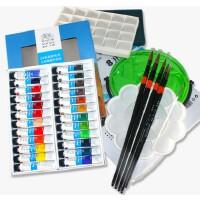 水彩套装 温莎牛顿24色水彩颜料7件套水彩画笔调色盘